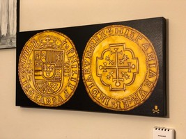 "PRINT (NOT PAINTING): MEXICO 1711 ROYAL ""FLEET SHIPWRECK"" ESCUDOS  GOLD ... - $195.00"