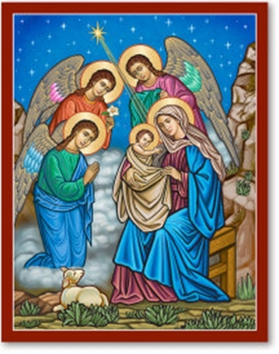 "Primary image for And the Angels Were Amazed Icon - 3"" x 4"" Prints With Lumina Gold"
