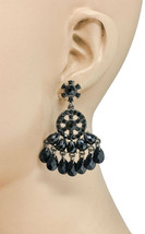 "2"" Long Chandelier Earrings, Black Rhinestones & Lucite Beads, Pierced      - $10.45"
