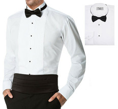 Boltini Italy Men's Premium Tuxedo Wingtip Collar Dress Shirt with Bow Tie