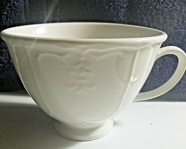 Tabletops Unlimited Versailles Large Soup Mug Cup Bowl White Embossed - $4.51