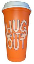 Starbucks Hug It Out Reusable Cup Travel 16oz Grande Orange Hot Cup Plas... - $9.49