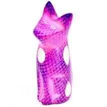 SMOLArt Hand Carved Soapstone Pink Purple Sitting Kitten Cat Figurine Made Kenya image 2