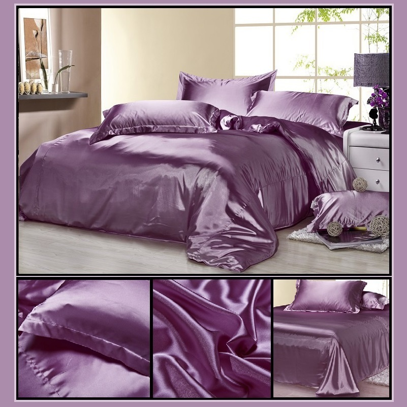 Luxury Lavender Mulberry Silk Satin Top Sheet Duvet w/ 2 Pillow Cases 4 Pc Set