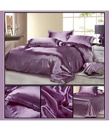 Luxury Lavender Mulberry Silk Satin Top Sheet Duvet w/ 2 Pillow Cases 4 ... - $44.95+