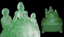Depression Glass Powder Jar Martha Washington Green Satin New Martinsville - $225.00