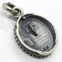 SILVER 925 PENDANT, BURNISHED AND SATIN, MEDAL WITH AGAIN AND FRAME image 3
