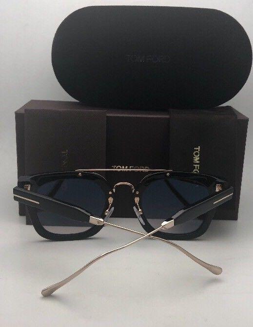 New TOM FORD Sunglasses ALEX-02 TF 541 01F 51-25 145 Black & Gold w/Brown+Mirror image 3
