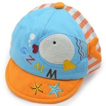 Fish Breathable Infant Beaked Cap Baby Boy Sun Protection Hat Toddler Cap Orange