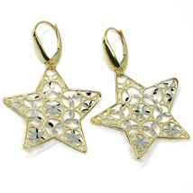 18K YELLOW WHITE GOLD PENDANT EARRINGS ONDULATE WORKED STAR, SHINY, STRIPED image 2