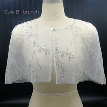 White Lace Bridal Wraps Cover-Ups Embroidery Lace Wedding Sequin Shawl Wrap Cape image 3