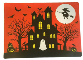 Haunted House Placemats Set of 4 Vinyl Halloween Foam Back Witch Ghost P... - $33.54