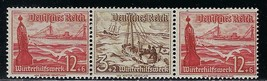 1937 Steamer and Lifeboat Strip of 3 Germany Postage Stamps Catalog Mi W134 MNH