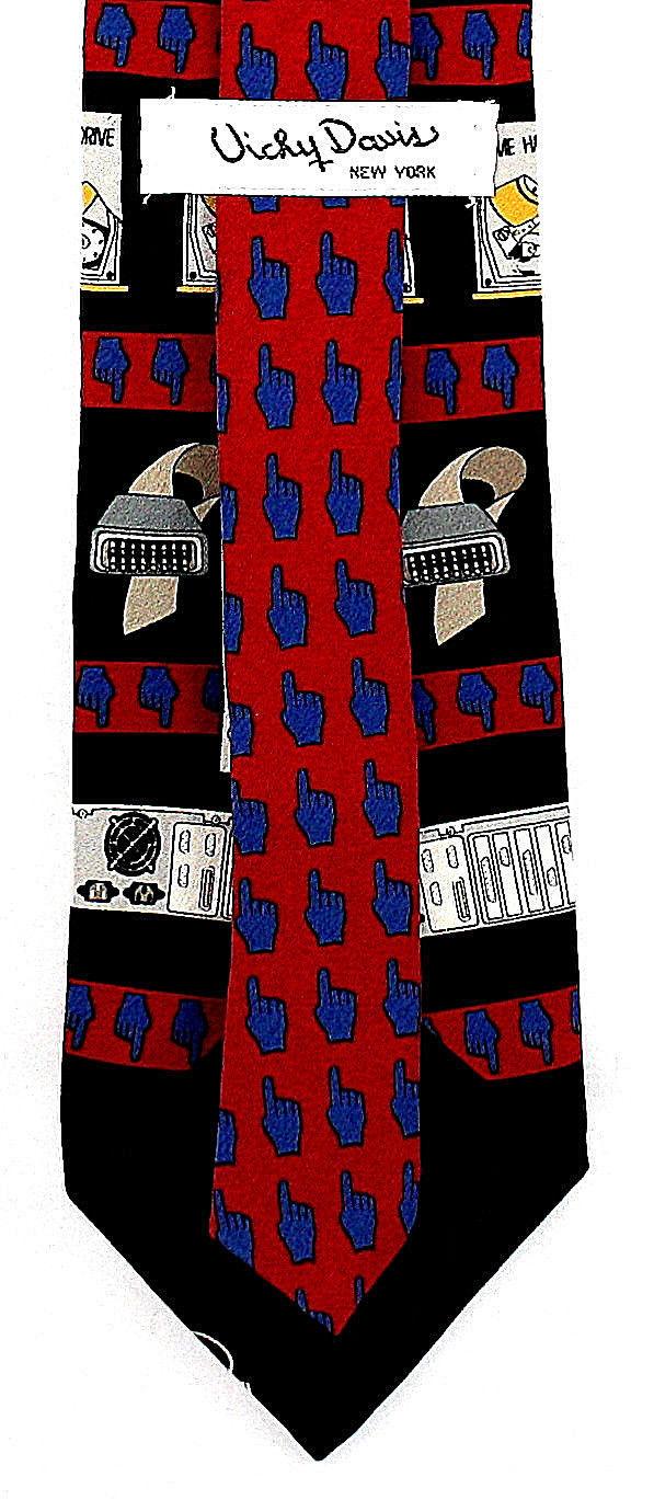 Vicky Davis Mens Silk Necktie Hard Drive Red Neck Tie Computer Geek Internet New image 3