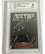 1997-98 TOPPS CHROME DESTINY TIM DUNCAN ROOKIE CARD RC #D8 BGS 8 NEAR MI... - $98.99