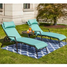 Outdoor Chaise Lounge with Side Table and Aqua Cushions in Metal Reclini... - $286.13