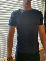 RE Perfromance Navy Blue Athletic T-Shirt With Orange Striping - $14.00