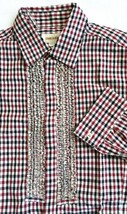 NWOT DIESEL Womens Ruffle Check Fitted Shirt S Cotton Burgundy Black Beige - $19.79