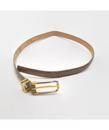 Carlisle Women's Tan Textured Leather Belt With Silver & Gold Tone Buckl... - $15.52