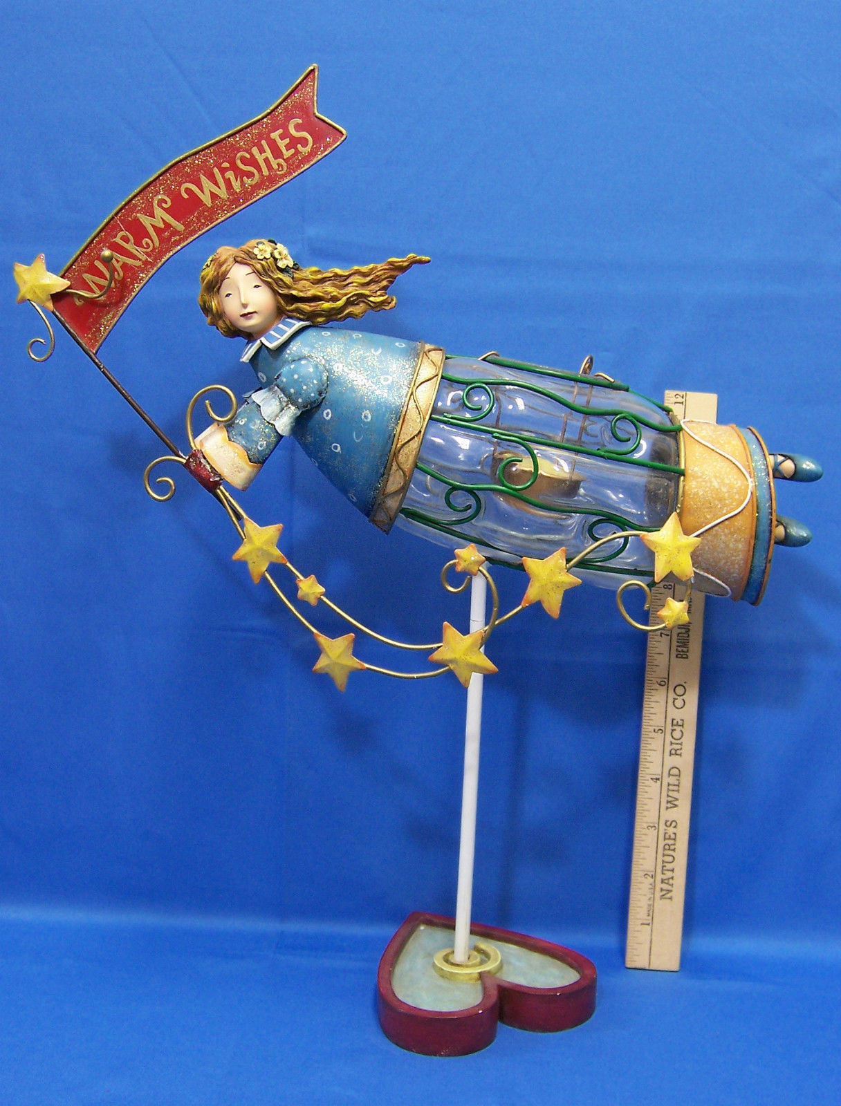 Primary image for Coyne & Co Flying Angel Candle Tealight Holder Holiday Warm Wishes Metal Glass