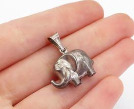 925 Sterling Silver - Vintage Petite Oxidized Hollow Elephant Pendant - ... - $25.91