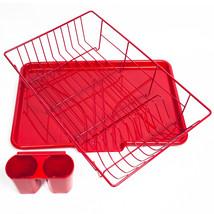 Home Basics 3-Piece Kitchen Sink Dish Drainer Set- Red - $21.59