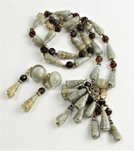 ESTATE VINTAGE RARE CASTLECLIFF NECKLACE & EARRINGS SET SWIRL ART GLASS ... - $225.00