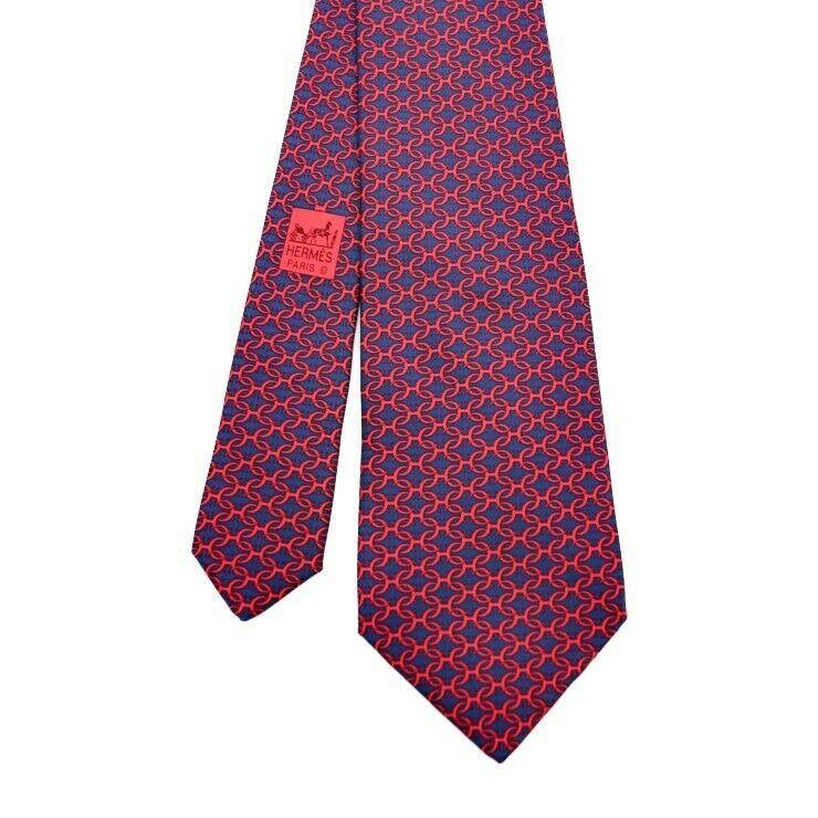 Hermes tie silk Navy Red Apparel Men's Auth