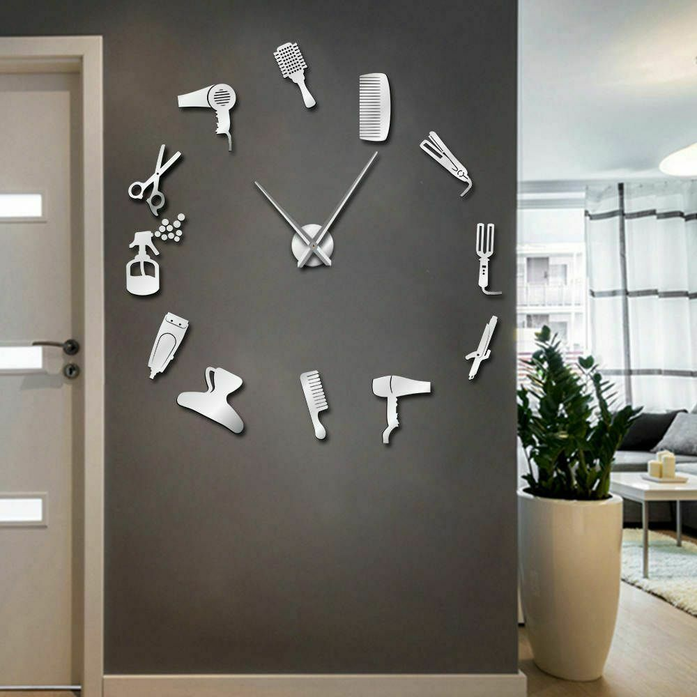 Primary image for Large DIY Wall Clock Barber Shop Hair Tools  Oversized Hairdresser Salon Decor