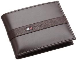 New Tommy Hilfiger Men's Leather Credit Card Wallet Billfold Brown 5673-02