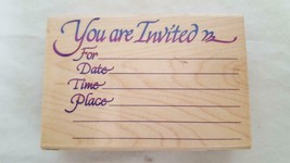 STAMPENDOUS INVITATION MOUNTED RUBBER EMBOSSING STAMP #P031,1998,RETIRED... - $5.67