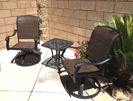 Outdoor bistro set 3 piece patio cast aluminum swivel rocker chairs end table. image 2