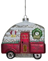 Christmas Camper Blown Glass Ornament With Glitter (Red) - $12.33