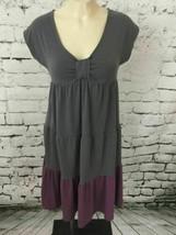 Liz Lange Maternity Womens Sz XS Dress Gray Scoop Neck Teired Ruffle A-Line - $16.42