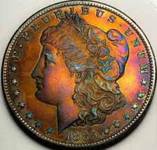 1885 O  MORGAN SILVER DOLLAR RAINBOW TONING, KEY DATE * 506 - $73.50