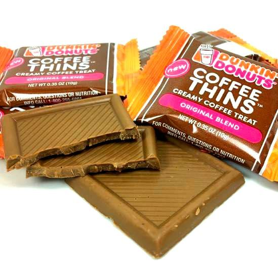 Primary image for 36 Dunkin Donuts Coffee Thins Original Chocolate Bars