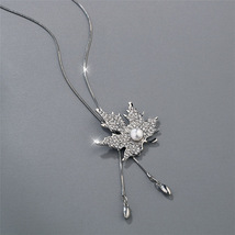 Maple Leaf  Design , Gold and Silver Plated Rhinestones Imitation Pearl  - $10.00