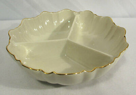 "Vintage Lenox China Symphony Relish Dish 3 Part 8"" Round w/ 24K Gold Trim - $14.84"
