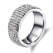 5 Rows Crystal Stainless Steel Ring Women Elegant Full Finger Wedding Je... - £9.90 GBP