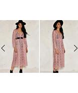 Nasty Gal  Hannah Premium Sheer Smocked Long sleeve Maxi Dress Rose On... - $69.99