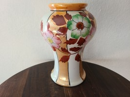 Vintage Lusterware Peach and White Floral Vase, Handpainted Japan