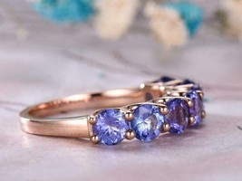 1.50Ct Round Cut Blue Tanzanite Half Eternity Wedding Band 14K Rose Gold... - $82.05