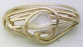 Clear Glass Heart Silver Wire Wrap Ring sz.9 - $10.07