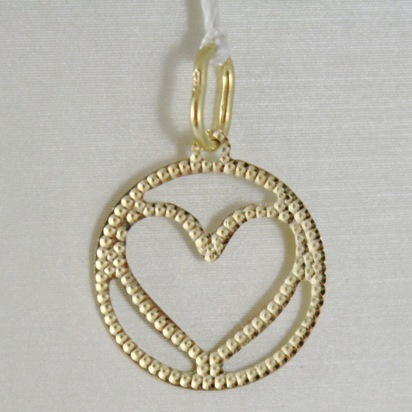 18K YELLOW GOLD HEART PENDANT CHARM 22 MM FINELY WORKED, BRIGHT, MADE IN ITALY