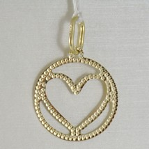 18K YELLOW GOLD HEART PENDANT CHARM 22 MM FINELY WORKED, BRIGHT, MADE IN ITALY image 1