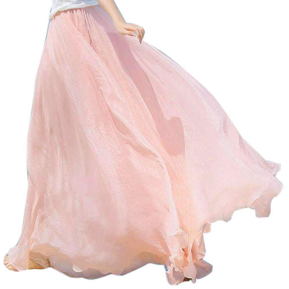 For less maxi skirts light pink one size elegant chiffon bohemian women maxi skirt 1392818946079