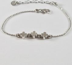 Silber Armband 925 Jack&co A Kugeln mit Shamrocks mit Zirkone JCB0782 - $66.09