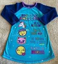 Girls Blue Teal Unicorn Kitty Emoji Raglan Long Sleeve Fleece Nightgown 6 - $6.43
