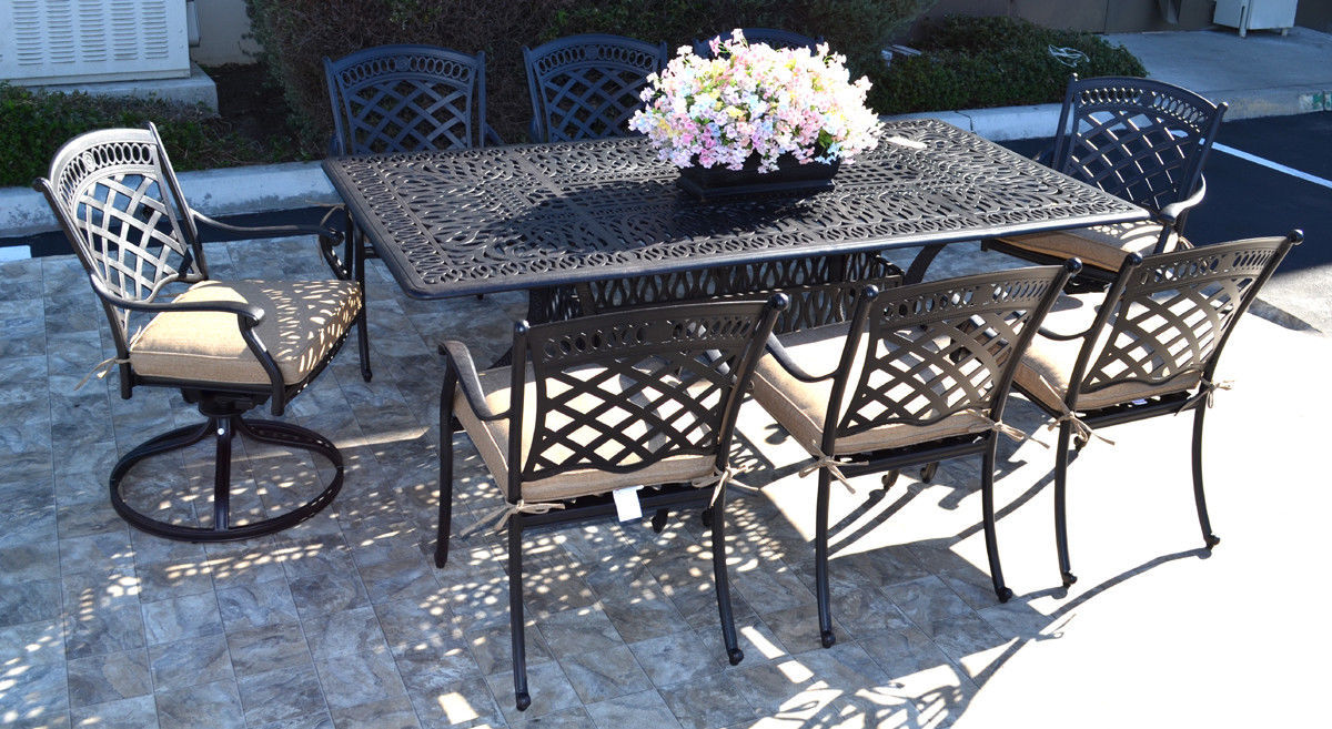9 piece patio dining set cast aluminum St. Augustine chairs and Elisabeth table.