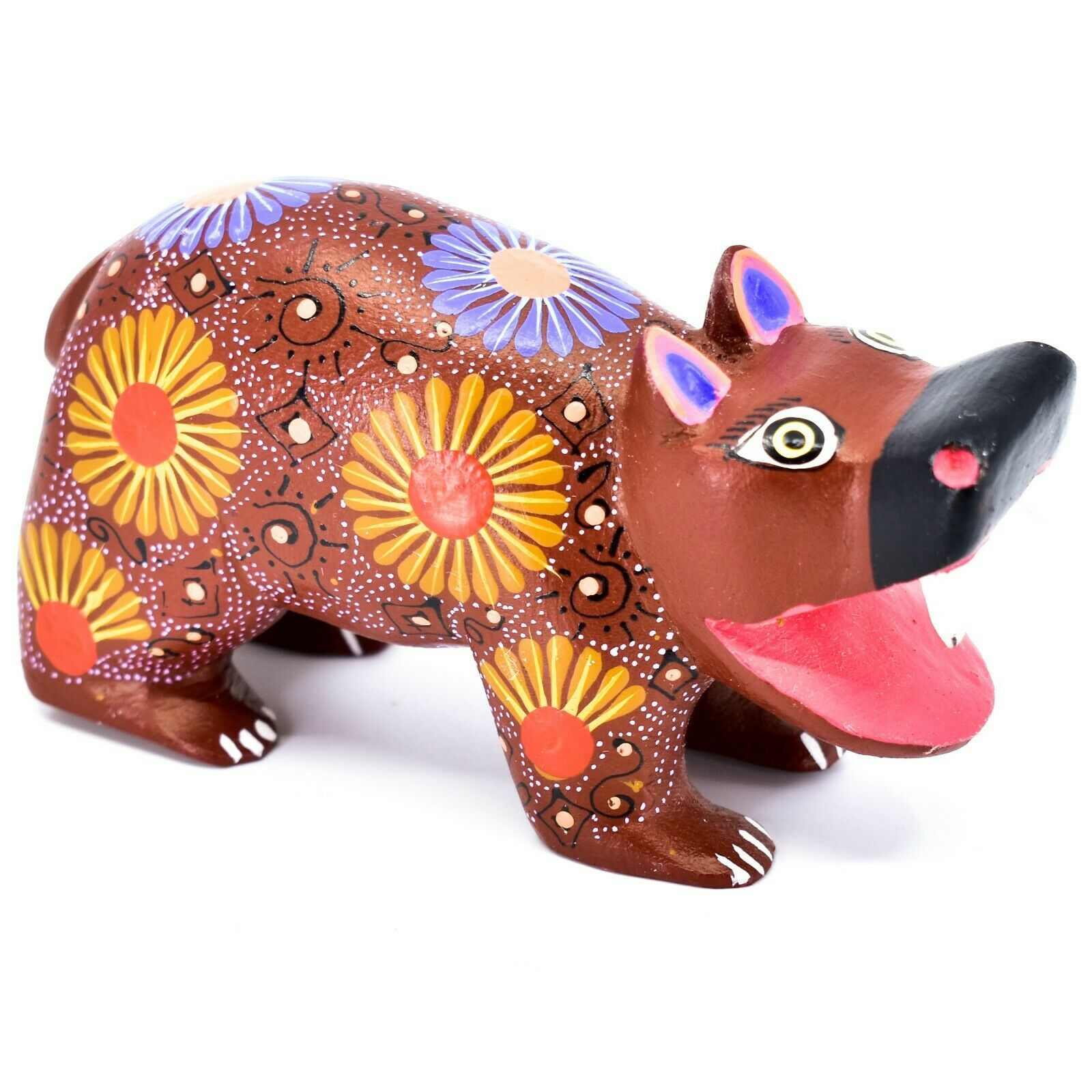 Handmade Oaxacan Alebrijes Copal Wood Carving Folk Art Hippopotamus Hippo Figure